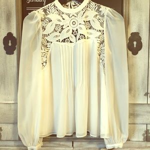 Express White Crochet Open-Back Blouse